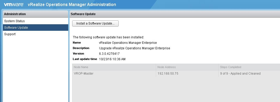 Updating VMware vRealize Operations Manager Appliance – Grumpy Techie